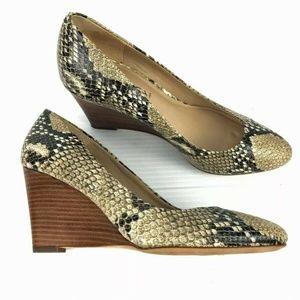 VIA SPIGA Snakeskin  Pamina Leather Wedge Heels